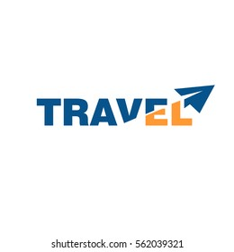 paper airplane travel logo