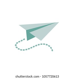 Paper airplane vector sketch icon isolated on background.