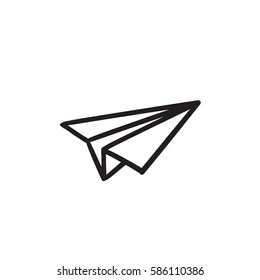 Paper airplane vector sketch icon isolated on background. Hand drawn Paper airplane icon. Paper airplane sketch icon for infographic, website or app.