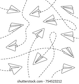 Paper airplanes. Paper airplanes with dashed lines. Paper airplanes with dashed lines on a white background. Paper airplanes with dashed lines in a linear style. Vector illustration Eps10 file