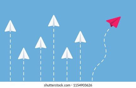 Paper airplanes flying. 5 white airplanes and one red. Business concept. Think different. Vector illustration.