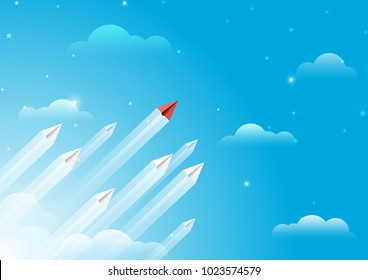 Paper airplanes flying from clouds on blue sky.Paper art style of business leadership and teamwork creative concept idea.Vector illustration