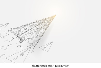 Paper airplanes flying from lines, triangles and particle style design. Illustration vector