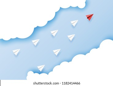 Paper airplanes flying on blue sky.Paper art style of business leadership and teamwork creative concept idea.Vector illustration.