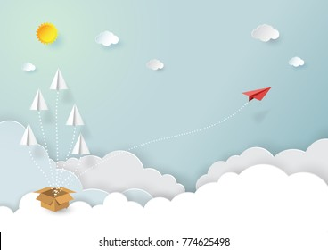 Paper airplanes flying on blue sky and cloud.Paper art style of business vision and teamwork creative concept idea.Vector illustration
