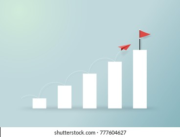 Paper airplanes flying on growing graph to red flag.Paper art style of business success creative concept idea.Vector illustration
