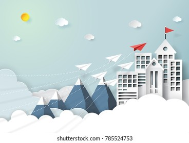 Paper airplanes flying to red flag on the top of buildings,mountains and clouds.Paper art style of start up and business teamwork creative concept idea.Vector illustration