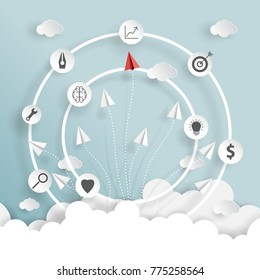 paper airplanes on blue sky and clouds of business strategy creative idea concept paper art style.Vector illustration.