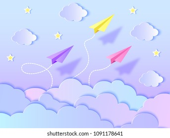 Paper airplanes,blue sky and clouds. Vector illustration. Paper art style