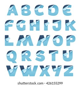 Paper alphabet letters with folded corner. Vector paper style typeface. Letter for card, app icon, corporate identity, label or poster.