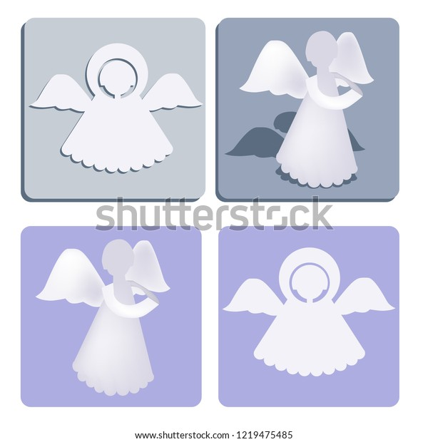 Paper Angel Template Model New Year Stock Vector Royalty