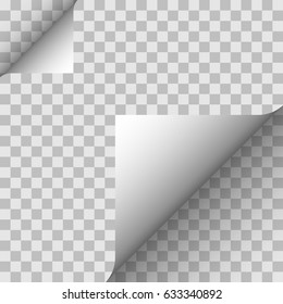 Paper angle on a transparent background. Vector illustration