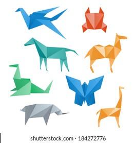 Paper animals wildlife, crane, horse, camel, crab, dragon, rhino, giraffe, butterfly, origami style.
