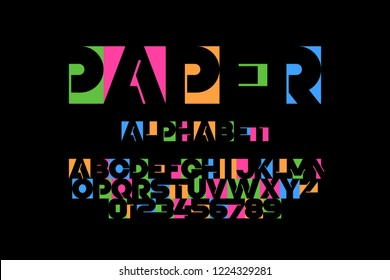 Paper applique font, alphabet letters and numbers vector illustration