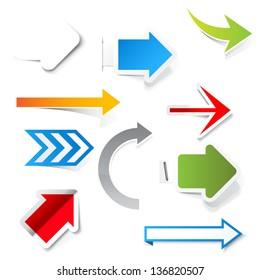 Paper arrows. Vector set