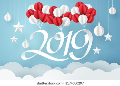Paper art of 2019 hang with balloon in the sky, happy new year celebration concept, vector art and illustration.
