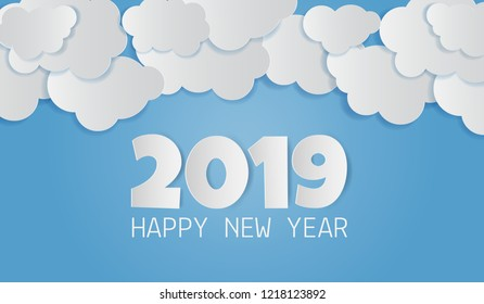 Paper art of 2019 happy new year text with cloud on blue sky. Vector illustration