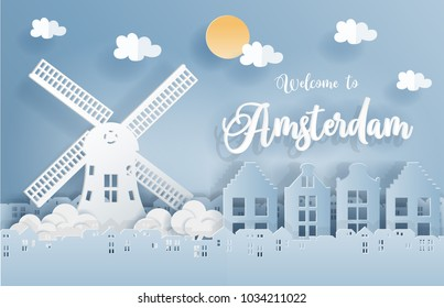 Paper art with Amsterdam city, with building,windmill, and blue sky. Welcome to Amsterdam. Vector illustration.