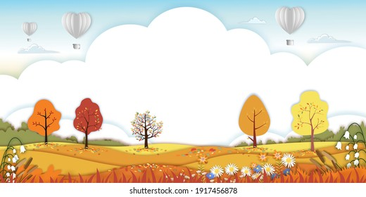 Paper art Autumn landscape forest trees on hills,Paper cut mid autumn with sky and hot air balloons,Flat cartoon for banner in fall season background