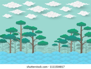 Paper art background, bizzare river running through forest  under sky full of strange clouds
