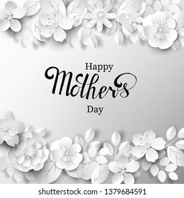 Paper art background with hand lettering. Happy mother's day. Vector stock.