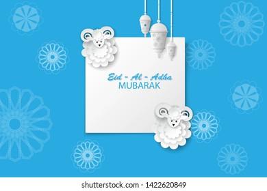 Paper art background. Kurban bairam. Eid al Adha.