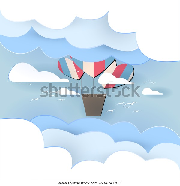 Paper art balloon in the sky vector background design