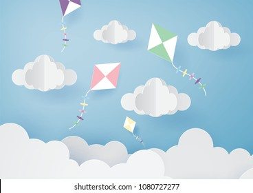 Paper art of beatiful sky with orgami flying kite and clouds.Vector eps10.