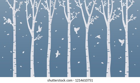 Paper art birch tree on blue background