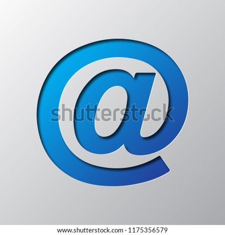 Paper Art Blue E Mail Symbol Stock Vector Royalty Free 1175356579