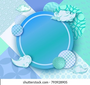 Paper art blue frame with japan wave pattern, brochure, business card template or background in trendy oriental geometric style, chinese eastern ornament, trendy vector fashion invitation, gift card