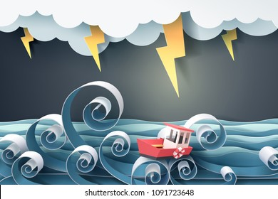 Paper art of boat against crazy sea and thunderbolt in storm, vector art and illustration.