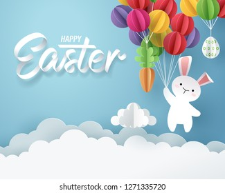 Paper art of Bunny, carrot and Easter eggs hang on colorful balloons, Happy Easter celebration concept, vector art and illustration.