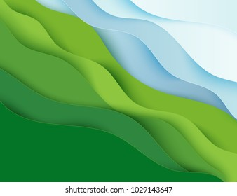 Paper art cartoon abstract waves. Paper carve background. Modern origami design template. Vector illustration. 3d paper layers, sea and green seashore