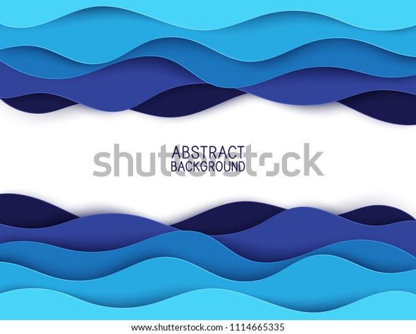 Paper art cartoon abstract waves. Paper carve background. Modern origami design template. Vector illustration. 3d paper layers, sea waves