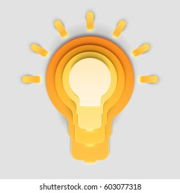 Paper art cartoon light bulb in realistic trendy craft style. Modern origami design template. Concept inspiration or idea for your projects. Vector illustration.
