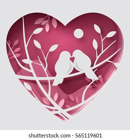 Paper art carve to couple birds on tree branch in forest, origami concept and Valentine's day idea, vector art and illustration.
