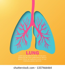 Paper art carve to the human lung system, anatomy concept, the yellow-orange background, a research hospital. A concept for wallpaper, banner, web and medical apps. Vector illustration