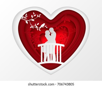 Paper art carve of white couple silhouette of lovers embracing on the bridge in forest, origami concept and Valentine's day idea, vector art and illustration.