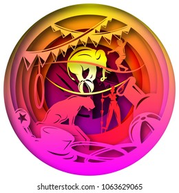 Paper art carves the concept of circus. Vector illustration. Abstract logo. Isolated icon. Background of World Circus Day. 10 EPS