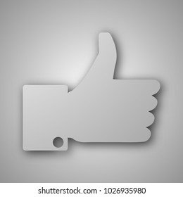 Paper art carves the concept of hand. Vector illustration. Abstract logo. Isolated icon. Background of hand. 10 EPS