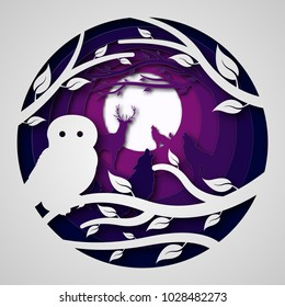 Paper art carves the concept of night forest. Vector illustration. Abstract logo. Isolated icon. Background of night forest. 10 EPS
