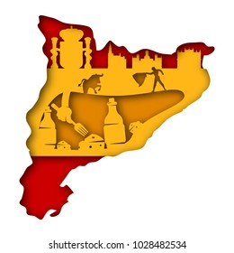 Paper art carves the concept of Spain. Vector illustration. Abstract logo. Isolated icon. Background of Spain. 10 EPS