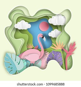 Paper art carving with flamingo , tropical leaf  background.