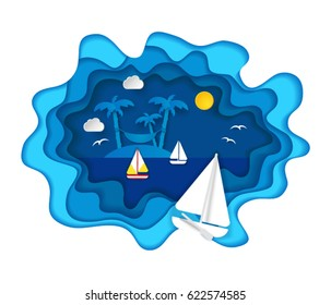 Paper art carving with three sailing boats and tropical island with palms and hammock. Including sun, clouds, birds, sea. Vector illustration in cut style. Summer vacation, holidays concept.