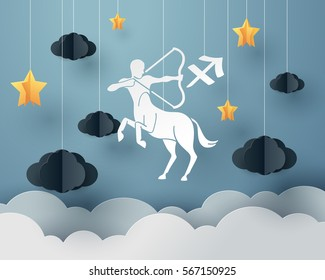 Paper art of centaur archery to Sagittarius of zodiac and horoscope concept, vector art and illustration.