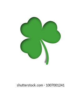 Paper art of cloverleaf. 3d illustration cloverleaf on St. Patricks Day. Vector illustration