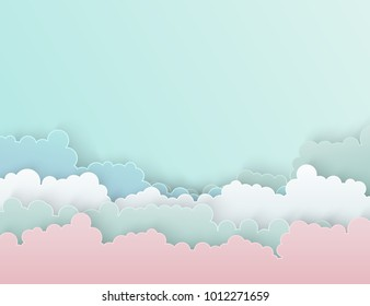 Paper art colorful fluffy clouds background with place for text. Modern origami paper art style. Vector illustration. Pastel colors