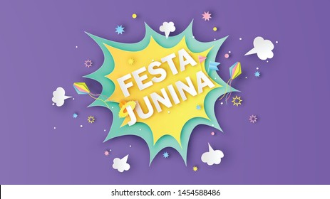Paper art of comic speech bubble with explosion firework for Festa Junina festival and calligraphy. Festa Junina greeting card. paper cut and craft style. vector, illustration.