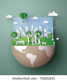 paper art concept of eco friendly , save the earth and world environment day with family. digital craft style.